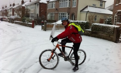 Cycling in the snow for the first time