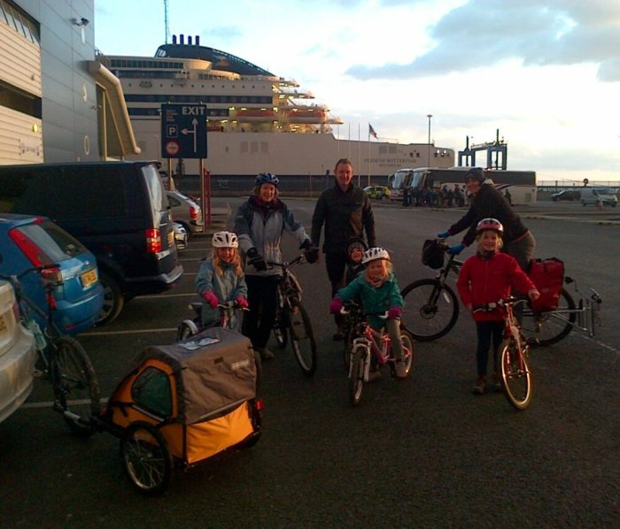 Ready to board a ferry with bikes, cycle trailer and kids in tow on our family cycling holiday in Holland during Easter 2013