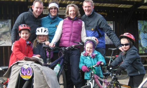 Kathryn and Liz cycling in Holland with families