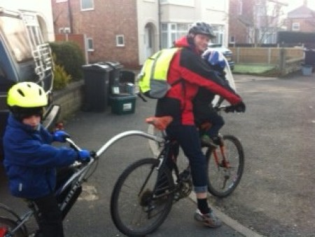Tagalong and front bike seat on the cycle ride to school each day