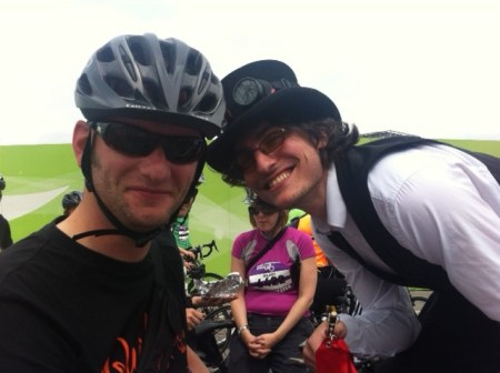 Making friends at the Great Manchester Cycle ride family race