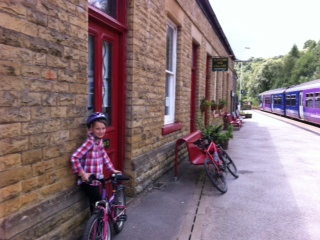 Emma bike and train on a bike ride to Todmorden
