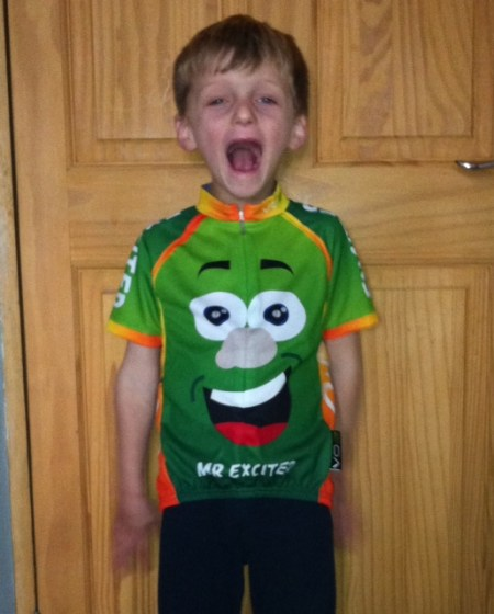 Mr Excited child size cycling jersey
