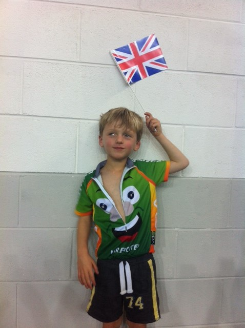 Mr Excited kids cycling top - flag
