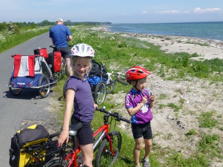 Outeredge small child's panniers on family cycling holiday to Denmark