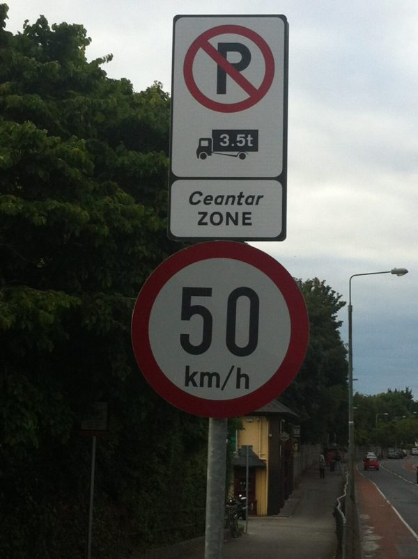 No Lorry Sign in Dublin - close up