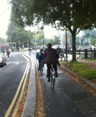 Protected cycle lane in Dublin