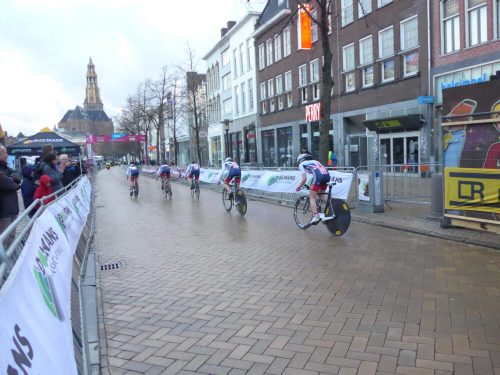 British Cycling Ladies Team apporaching the finishing line of the Energiewacht Tour Groningen time trial, 6th April 2016