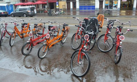 A selection of the kids bikes available to rent at the Macbikes store on Overtoom, Amsterdam, close to Vondelpark