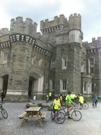 Arriving at Wray Castle by bike