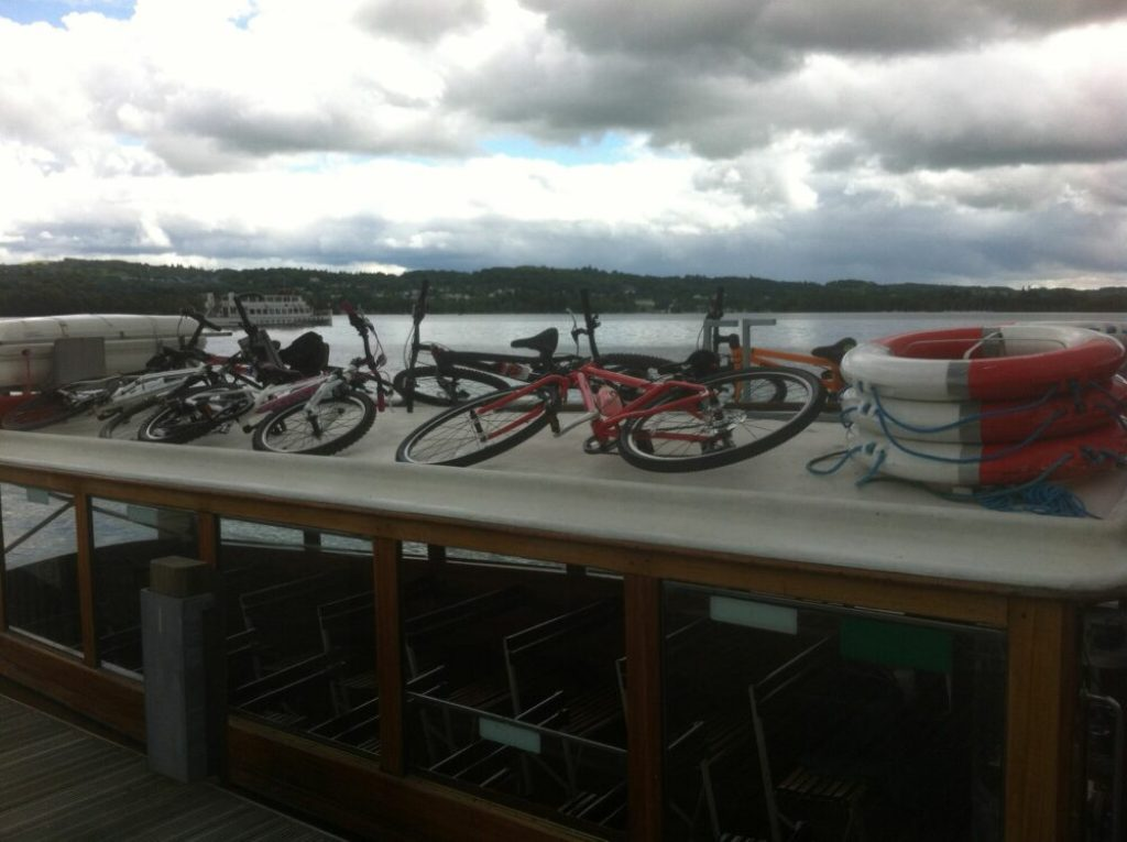 Kids bikes go onto the roof of the Windermere Bike Boat