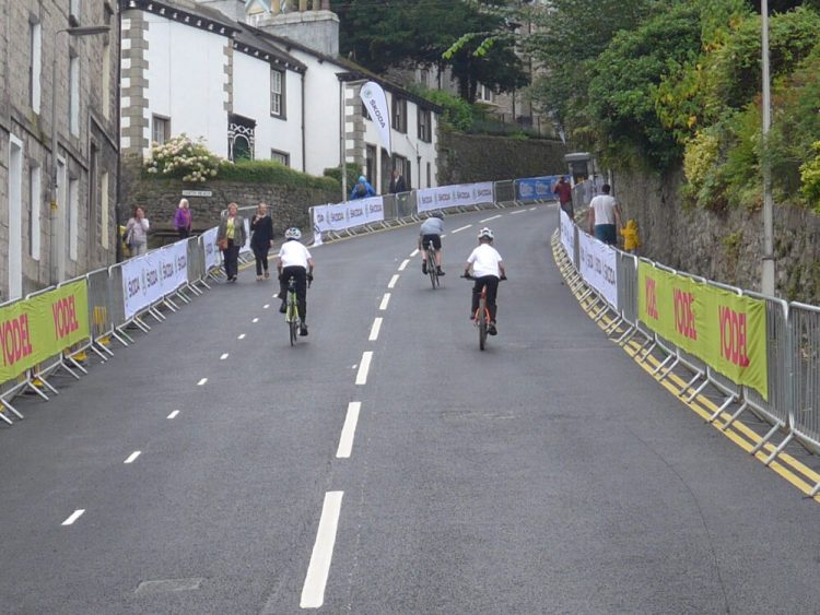 Kids cycling Islabikes up Beast Banks on Tour of Britain 2016 stage 2