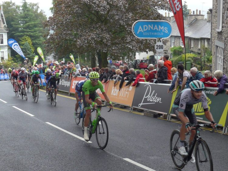 Riders struggling up Beast Banks, Kendal at the end of Stage 2 of the Tour of Britain 2016