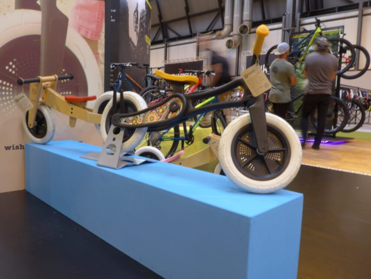 Wishbone 2 in 1 balance bikes on display at the 2016 Cycle Show, NEC Birmingham