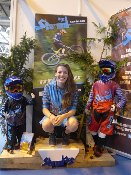 Jess from ShredXS on the winners podium at the 2016 Cycle Show
