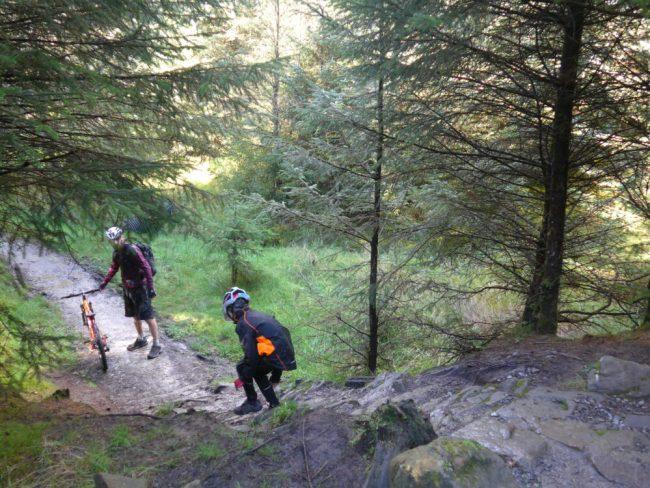 climbing-down-damp-rock