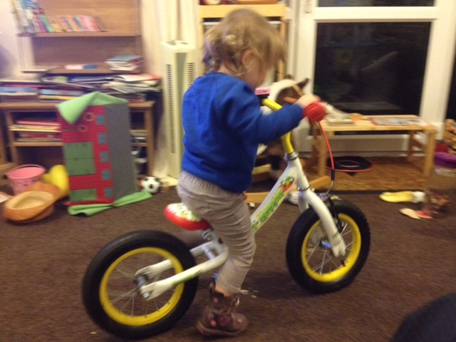 Riding the Claud Butler balance bike