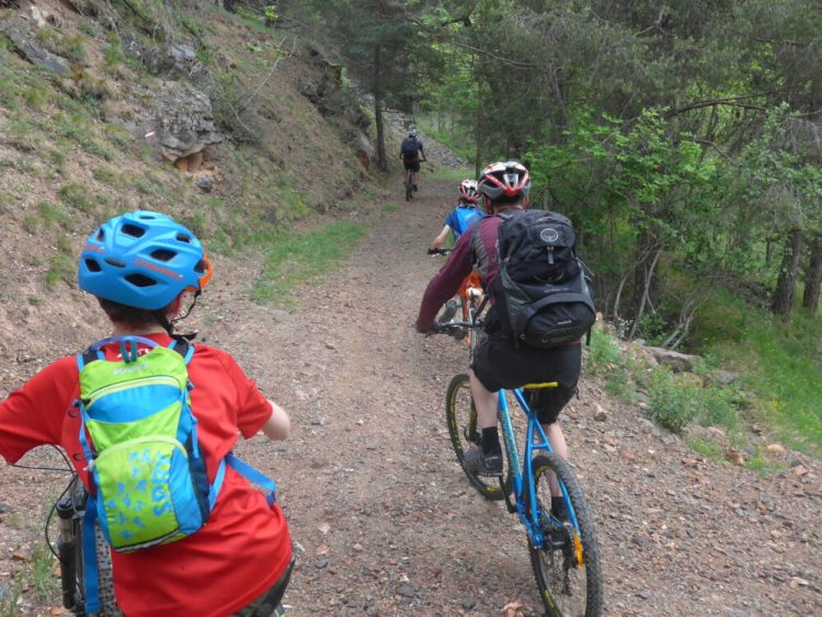 Getting used to our rental bikes on the way from Les Alberts to Briancon in the French Alps