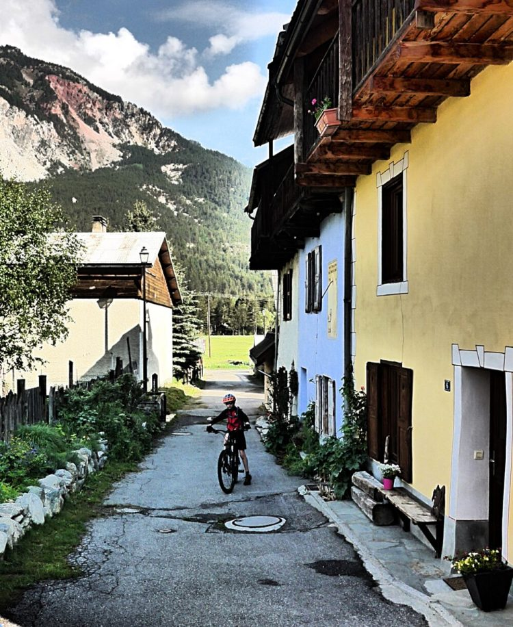 Cycling with kids in the french alps - ready for biking outside Maison Amalka