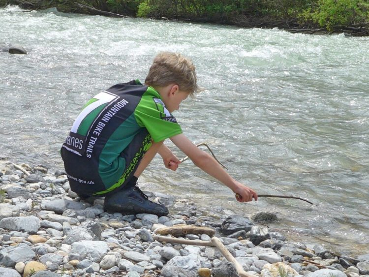 River Clarée in the French Alps - meltwater and floating sticks