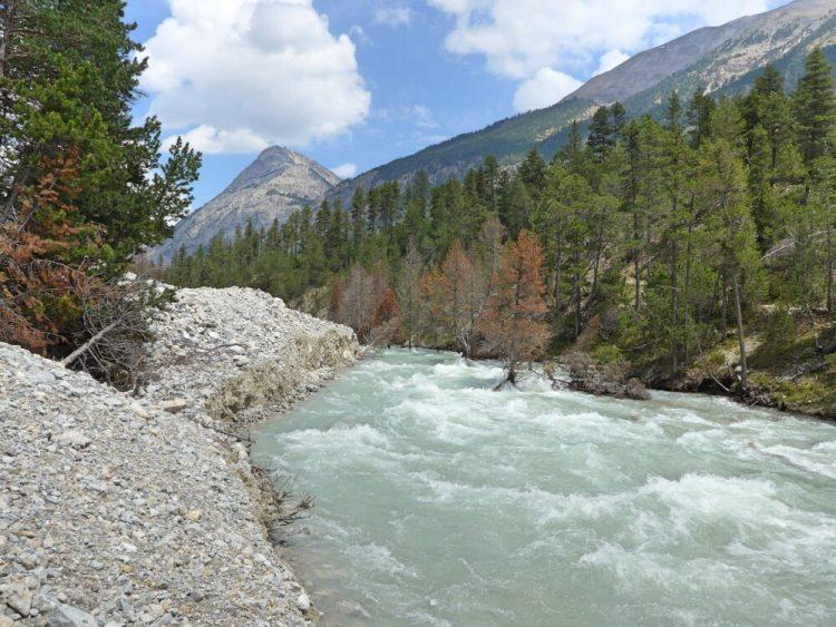 Vallée de la Clarée in the French Alps - river Clarée showing fast flow