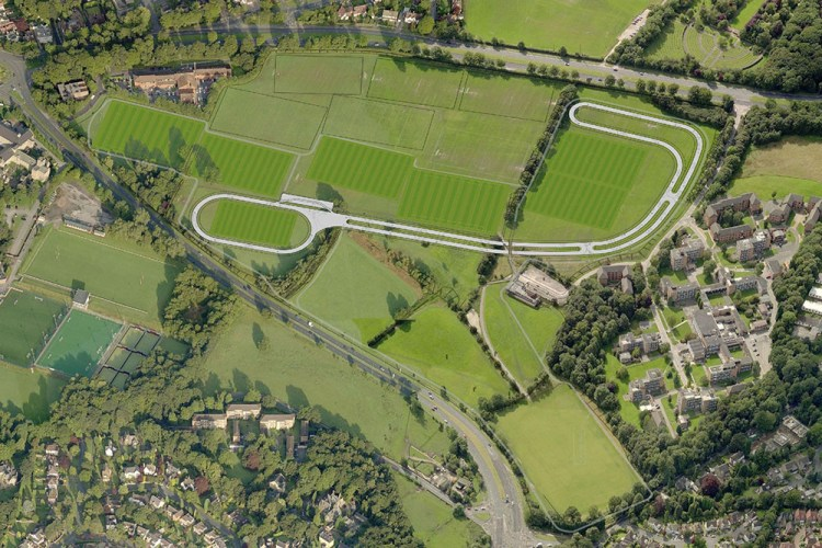 Areal view of the new cycle track at the Brownlee Centre Leeds