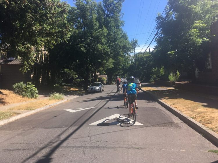 Greenway for cyclists in Portland, USA