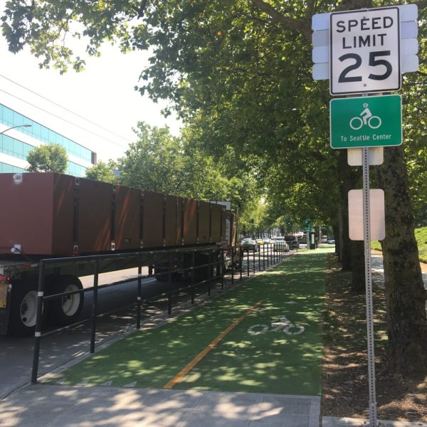 Protected cycle path in Seattle