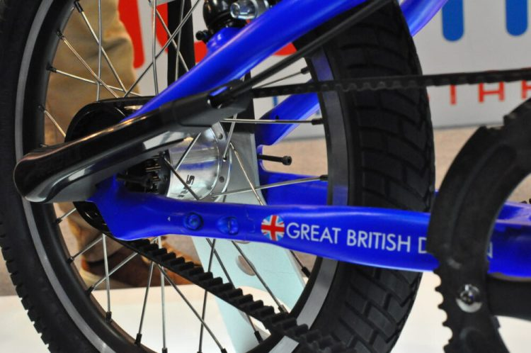 Belt drive on the Kiddimoto Darwin Pedal Bike on display at the 2017 Cycle Show