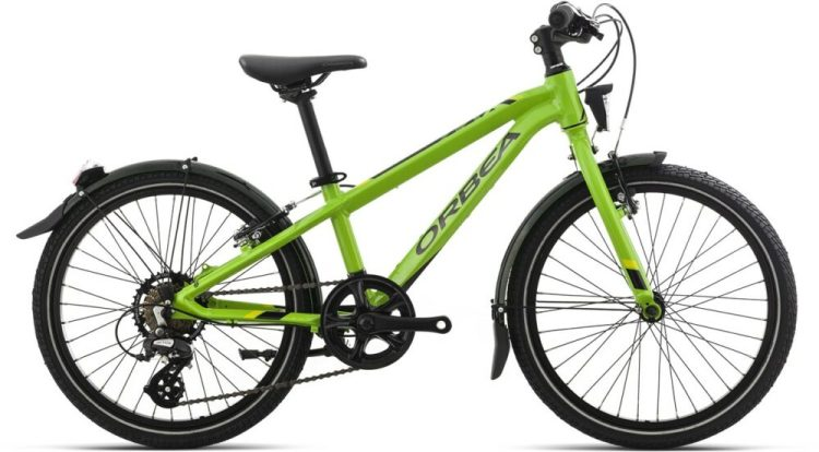 "Orbea MX20 Park in green - one of the best 20"" wheel kids hybrid bikes for a 6 year old or 7 year old kid tackling year round riding to school, plus weekend riding"