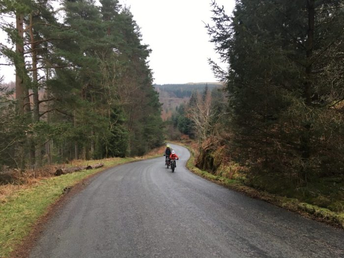 Steep climb up Whinlatter pass to get to blue run