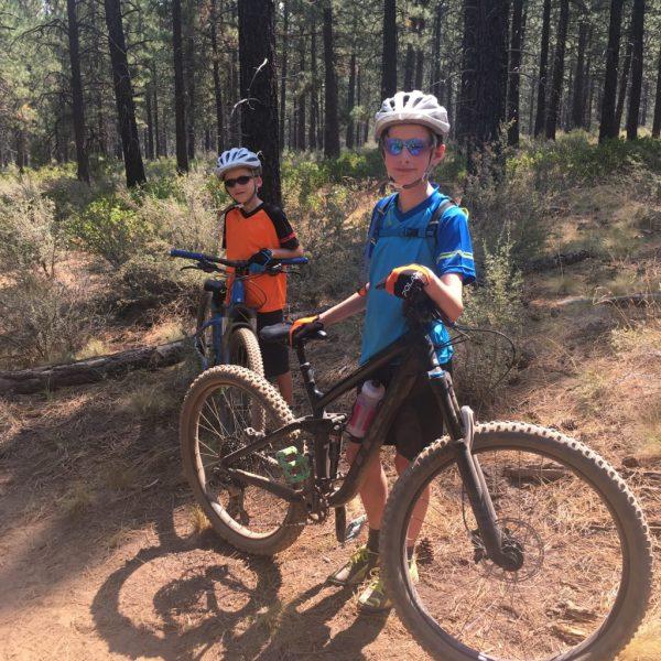 Polaris Mini Adventure kids mountain bike jersey - orange and blue colour options
