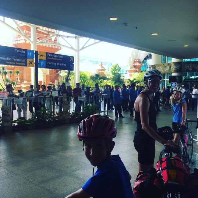 Arriving with bikes at Bali airport Denpasar