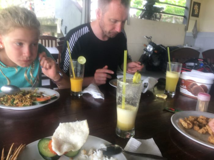 Alice having lunch at Rendang, Bali Indonesia