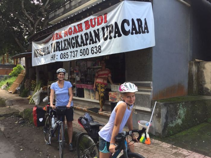 Alice and Kathryn family cycling holilday on Bali, Indonesia