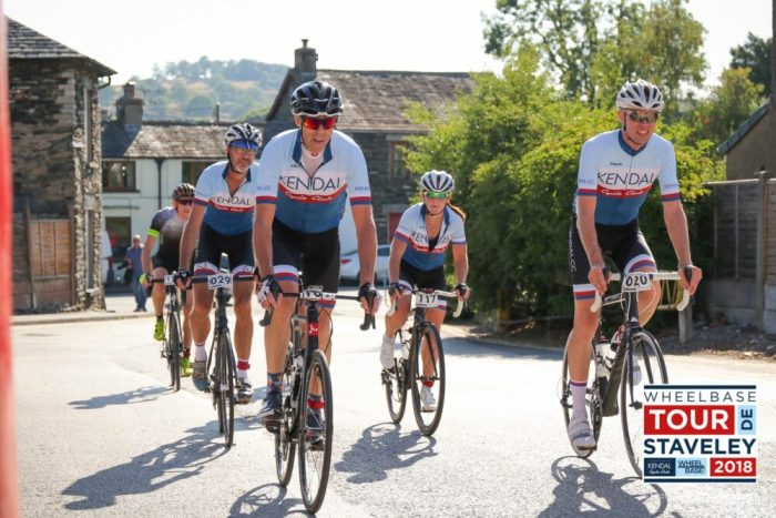 Fast riders finishing the Tour de Staveley