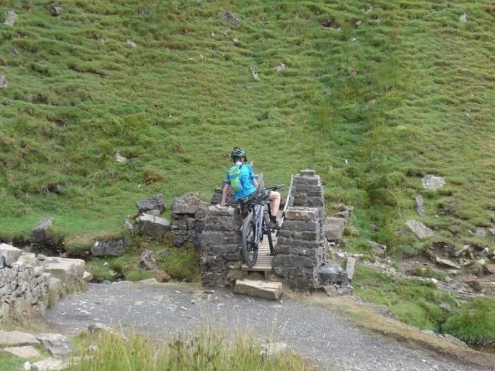 Swaledale mountain biking - ford by bridge