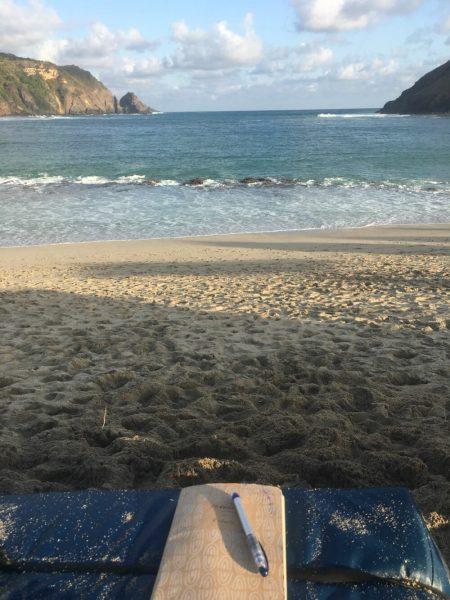 Writing on the beach, Bali