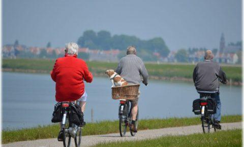 Grandparents cycling on e-bikes