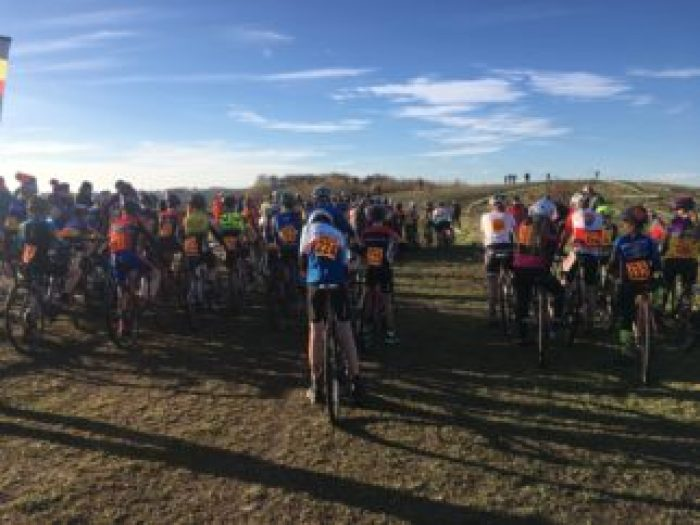 Junior cyclocross - the start of an U14's CX race at Ulverston, Cumbria NWCCA league race