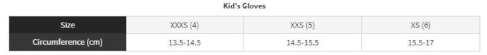 Cube Kids Cycling Glove sizing