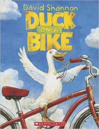Duck on a Bike by David Shannon is a great picture book about cycling for toddlers and babies