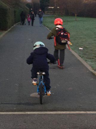 LED lights on the back of the Mini Hornit kids bike helmet