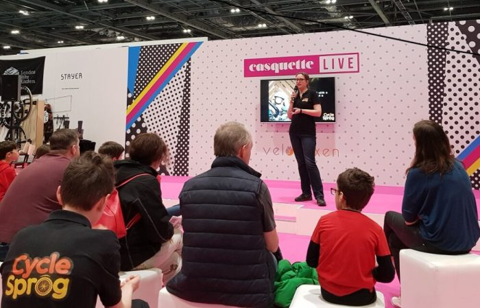 Karen Gee from Cycle Sprog speaking at the London Bike Show 2019