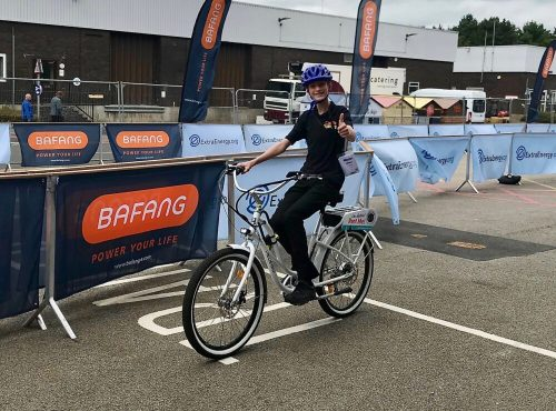Riding the Pedego electric bike on the Cycle Show 2019 test track