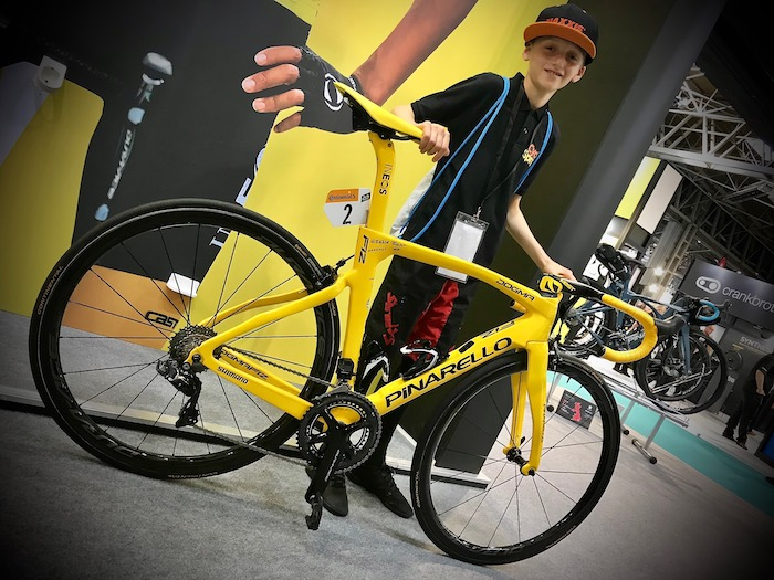 Cycle Show 2019 Holding Egan Bernals Team Ineos Tour de France bike