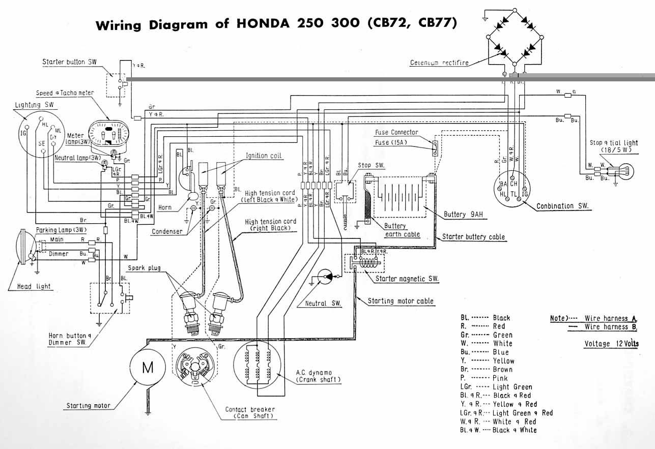 Honda CB72 and CB77 electrical wiring diagram?resize=640%2C439 motorcycle wiring diagrams for honda cl77 cb750k wiring diagram  at bayanpartner.co