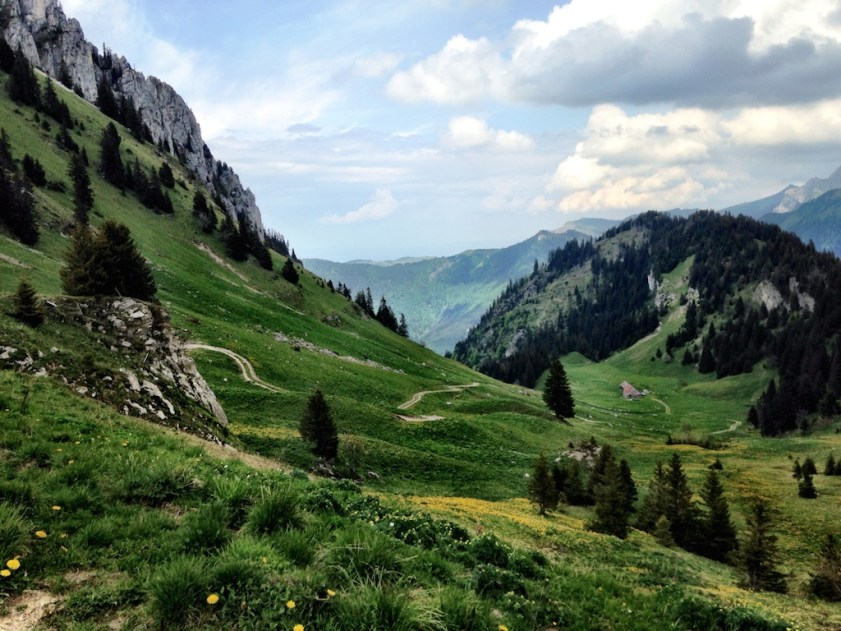 View from Col de Planchamp.  Heading down there.
