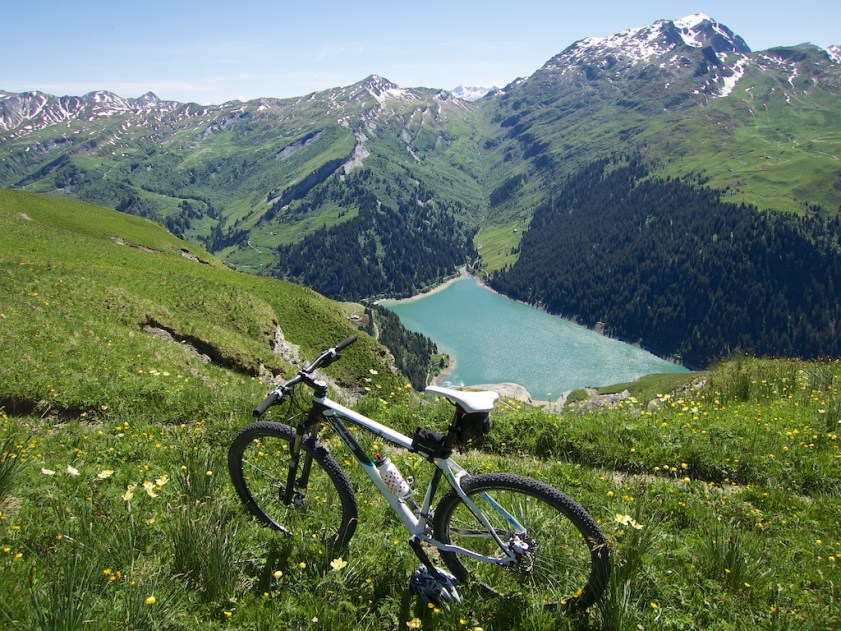 view of Lac de Saint Guérin down other side of ridge