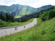 Morzine side. Cycling on ski slopes